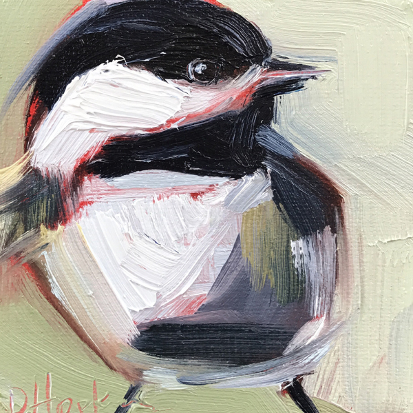Chickadee on Green
